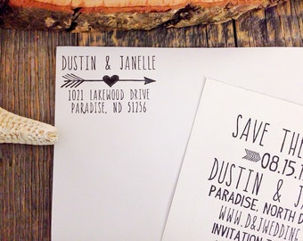Return Address  Stamp, Wedding Invitation Stamp, Personalized Rubber Stamp - Self Inking - Heart with Arrow