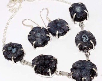 AGATE GEODE SLICE  Handmade 925 Silver Plated Necklace + Earrings sets A 151