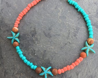 Beach Anklet, Starfish Anklet, Hippie Anklet, Boho Anklet, Ankle Bracelet, Anklet, Ankle Jewelry, Beach Jewelry