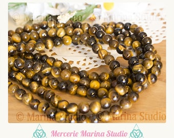 10 beautiful Tiger eye beads in 6mm - heated and untreated * reiki - chakra