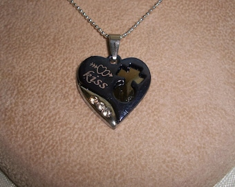 Double Heart Kiss Necklace, Silver Ball Chain, Heart with Bling, Kiss/Love, Blue Heart Jewelry by Brendas Beading on Etsy