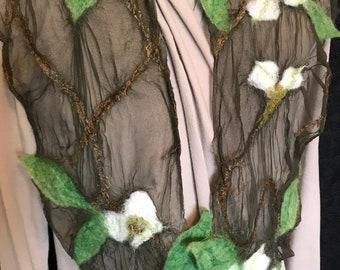 Dogwood Flower Nuno Felted Silk Scarf