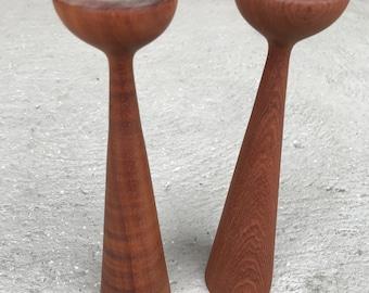 Pair Teak Danish Modern Candle Holders Mid Century Modern