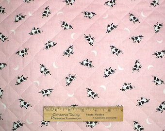 Cow Fabric, Quilted cotton, Pink Cows, Cows and Moons, Cow print, 1 YARD