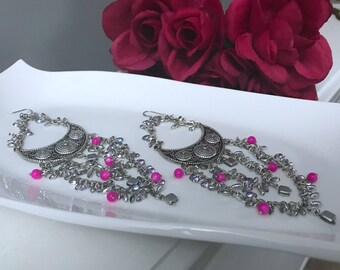 Madrid inspired, long dangle big bold chunky statement oversized formal earrings
