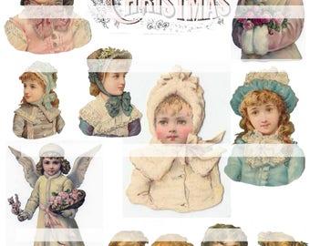 Victorian Girls, vintage Christmas collage sheet (printable, digital download)