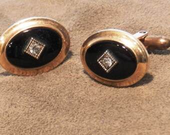 Vintage Quality Correct Cufflinks by Krementz Gold Layered with Clear Rhinestone Center        00704