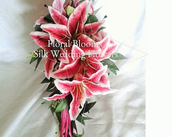Artificial Pink Lily Cascading Bridal Bouquet with luxurious satin ribbon and diamante