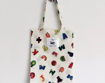 "Tote BAG for child L muse KIDS - ecru ""alphabet"" print"