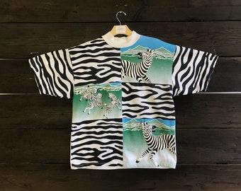Vintage 80s Spumoni by Franko Zebras Tee