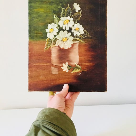 Vintage Flower Painting Acrylic Floral Wall Art Brown Green Still Life Daisy Flower Canvas Painting