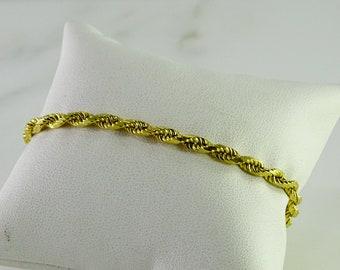 "18K Gold Rope Bracelet 7 1/2"""