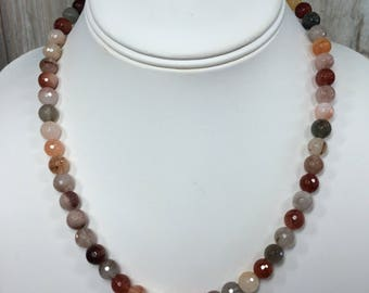 8mm Faceted Multi Colored Quartz Silver Necklace