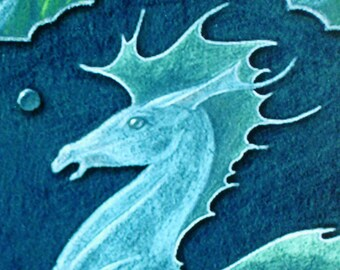 HIPPOCAMPUS - fantasy sea-horse for mermaids and tritons - Prismacolor painting - Artist's Proof - ready to frame