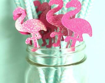 Let's Flamingle Straws - Flamingo Straws - Luau Straws - Tropical Straws - Beach Party Straws - Let's Flamingle Party Decor - Flamingo Decor