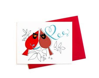 Valentine Love Birds, Cardinal Valentines, Love Cardinals Single Blank Greeting Card