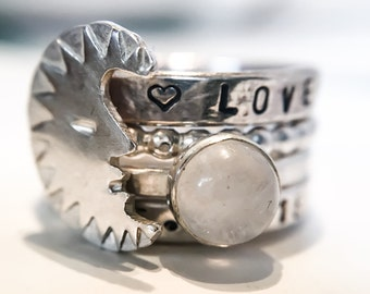 Moon and Moonstone Ring Set // Personalized Stacking Rings // Sterling Silver and Moonstone