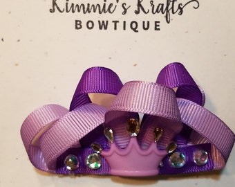 Purple Mini Crown Barrette Bow for Buns or Curls