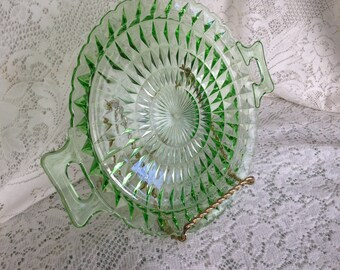 RESERVED:  Depression Glass Jeannette Windsor Diamond Vintage Green Tray with Squared Handles