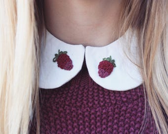 Detachable Peter Pan Collar - hand embroidered - Berry - ALL SIZES - Detachable Collar, berry embroidery, hand embroidered collar