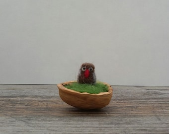 Felted Owl in a nut shell - Waldorf  inspired