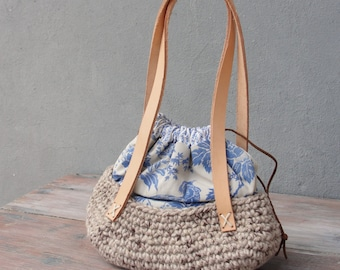 Bird's Nest Bag - Antique Fabric, Leather Handles and Crochet