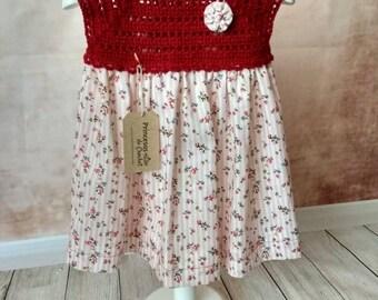 Dress crochet and fabric.