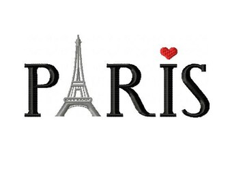 Paris with Eiffel Tower Embroidery Design - 2 sizes - INSTANT DOWNLOAD