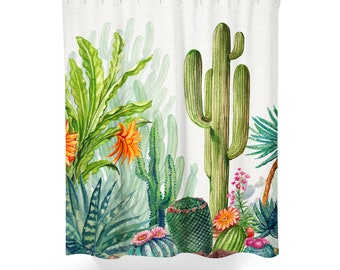 Cactus Shower Curtain | Cactus Bath Curtain | Succulent Shower Curtain | Succulent Bath Curtain | Cactus Bathroom Decor | Cactus Curtain