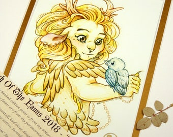 Princess Jacandy - MarchOfTheFauns 2018 Limited Edition Double Matted Faun Print with Story Scroll
