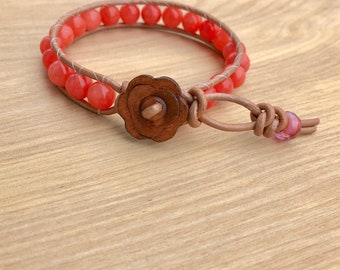 Single wrap leather beaded bracelet, spring jewelry, Mountain jade beads, wooden button toggle