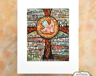 Holy Spirit Confirmation Prayer of St. Augustine Wall Art Print, gift for Confirmation, gift for RCIA, Christian prayer