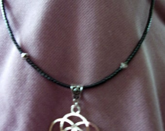 Flower of Life Hematite and pewter necklace