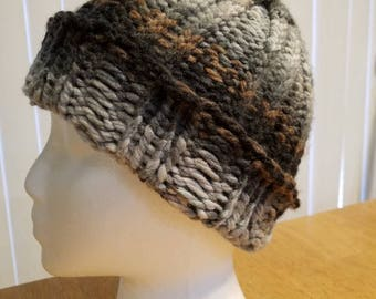 Mens Grey/black/brown knit hat, rolled brim hat, Loom knit beanie, winter hat.