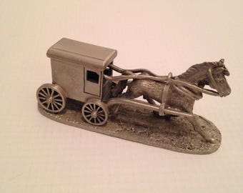 Pewter Horse with Amish Buggy