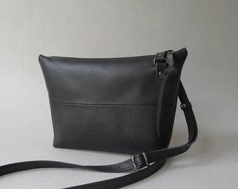 pouch bag - color block - black & black leather - cross body purse