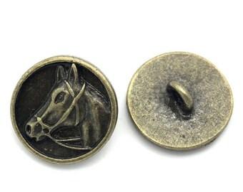 6 buttons round bronze 1.5 cm horse head