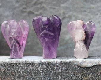 Amethyst Protection Angel / Mini Pocket Guardian Angel / Healing Crystal Angel