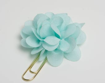 Aqua Blue Fabric Flower Planner Clip - Travelers Notebook Clip