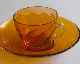 Small Amber Art Glass Demitasse Cup and Saucer