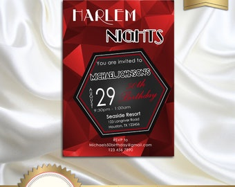 Printable Birthday Party Invitation, Harlem Nights Invitation, Red, Black, White, 21st 30th 40th 50th 60th 70th 80th 90th - Printable DIY