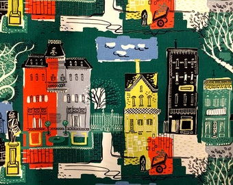 Charming Mid Mod 50s Stylized Architectural Barkcloth Fabric With A Whimsical Vibe//  Cotton Yardage/