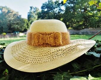 Womens gold hat band Womens bronze hat band Gold hat band Ladies straw hat band Bronze straw hat band Gold summer hat band Womens hats 311