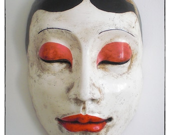 Geisha. Giant paper maché mask. Handmade painted. Ornament and interior decoration