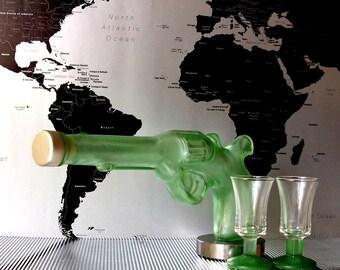 Gun pistol revolver shaped green glass bottle idea for Liquor Spirits empty