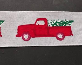 """FREE SHIPPING- 2.5"""" Wired White Background Red Truck with Green Christmas Tree Christmas Ribbon - 5 Yards"""