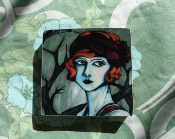 Moody flapper print mounted on wood- one of a kind