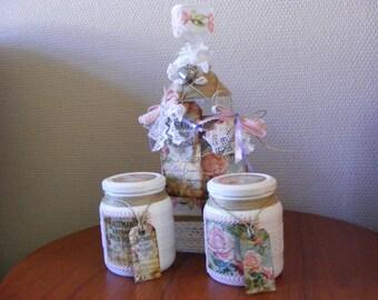brocante bottle and jars set rose and side