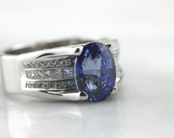 Amazing Natural, Unheated Sapphire and Diamond Statement Ring  W52735-R