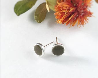 Custom Memorial Jewelry, Cremation Jewelry, Minimalist Stud Earrings, Sterling Silver Pet Ashes Jewelry